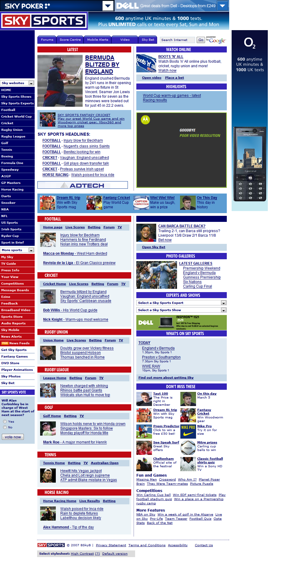 Forget About The Fold: Skysports Redesign, Less Is Less.