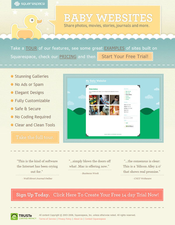 Baby Websites by Squarespace: Sharp Focus and Design