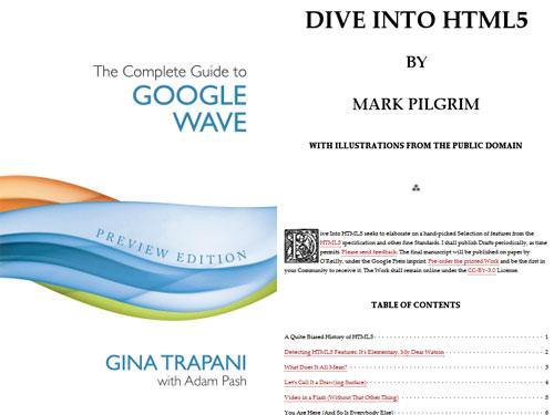 Diving into HTML5 and riding the Google Wave – in book format