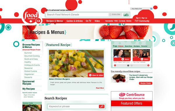 Food Network Canada Recipes & Menus website