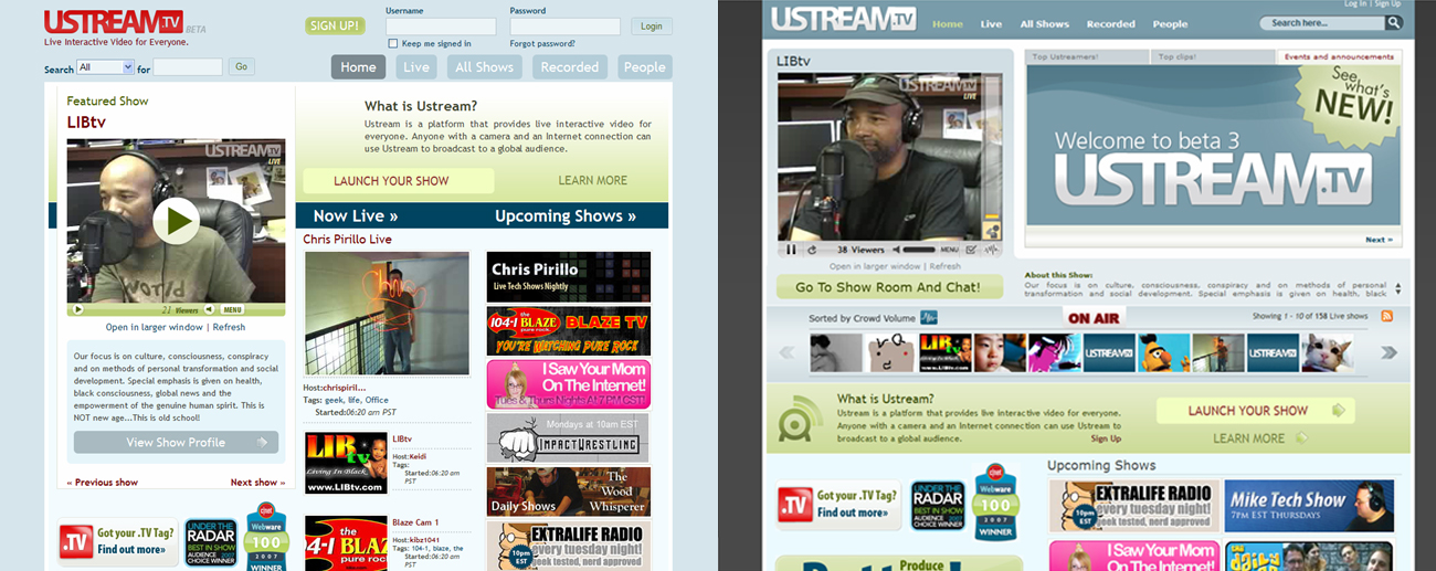 Side by Side: The Ustream.tv Redesign