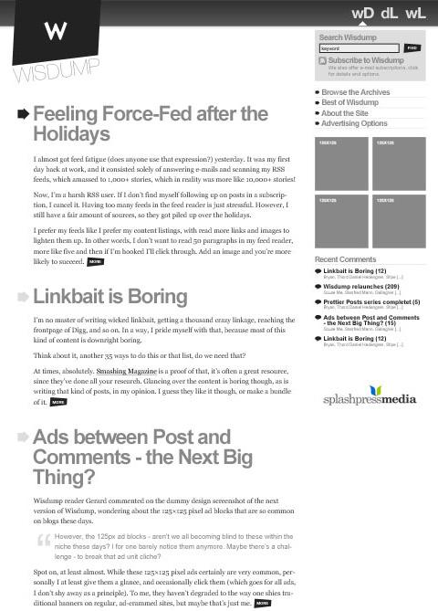Wisdump redesign concept, part 2