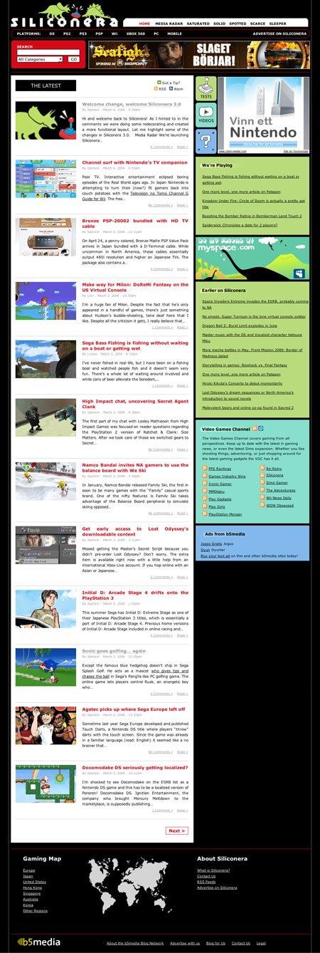 Siliconera: Blog Network Theme Done Right