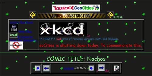XKCD says goodbye Geocities, hello '90s web design