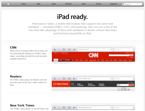iPad-ready? Apple works the web standards angle